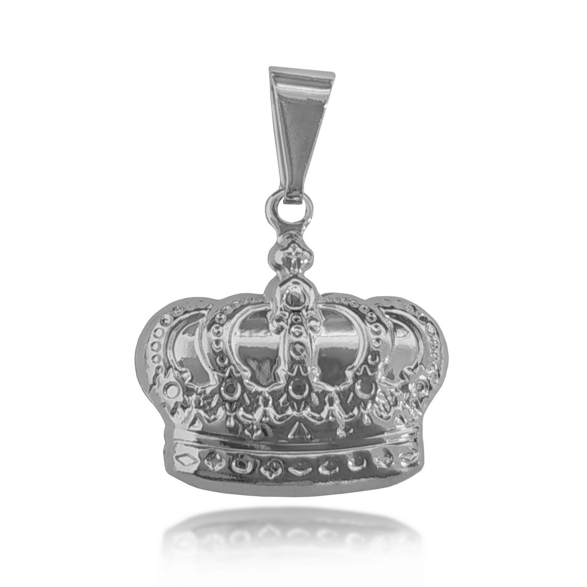Pingente Coroa Folheado a Prata 1000  - Lunozê Joias