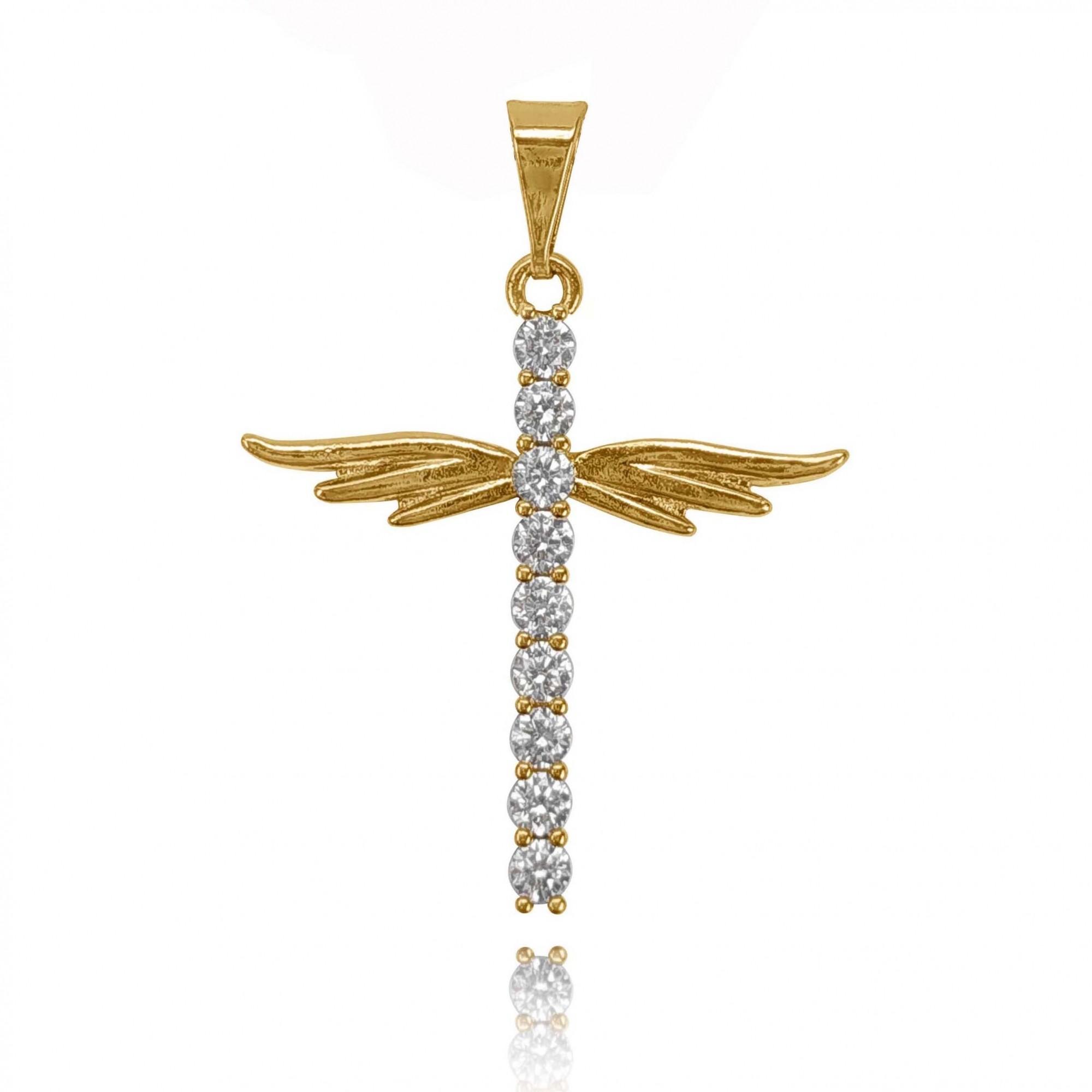 Pingente Crucifixo Alado Folheado a Ouro 18K  - Lunozê Joias
