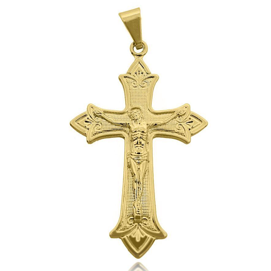 Pingente Crucifixo em Relevo Folheado a Ouro 18k