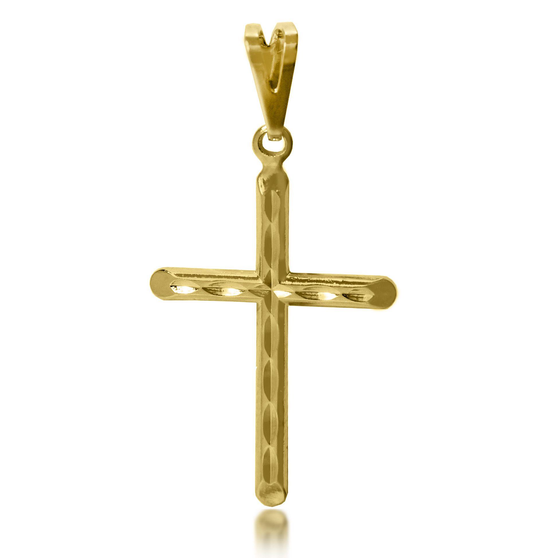 Pingente Cruz Diamantado Folheado a Ouro 18k