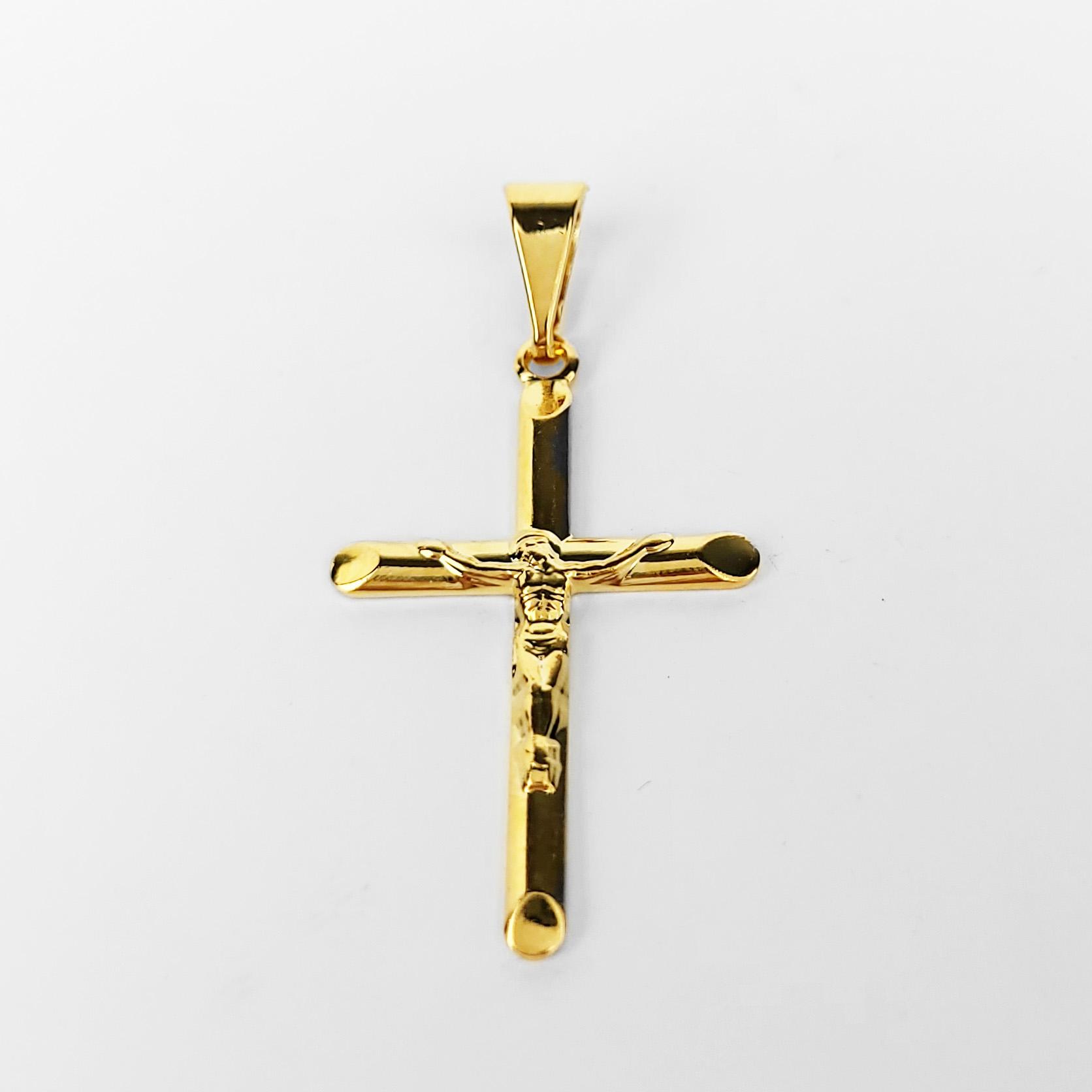 Pingente Cruz Jesus em Relevo Folheado a Ouro 18k  - Lunozê Joias