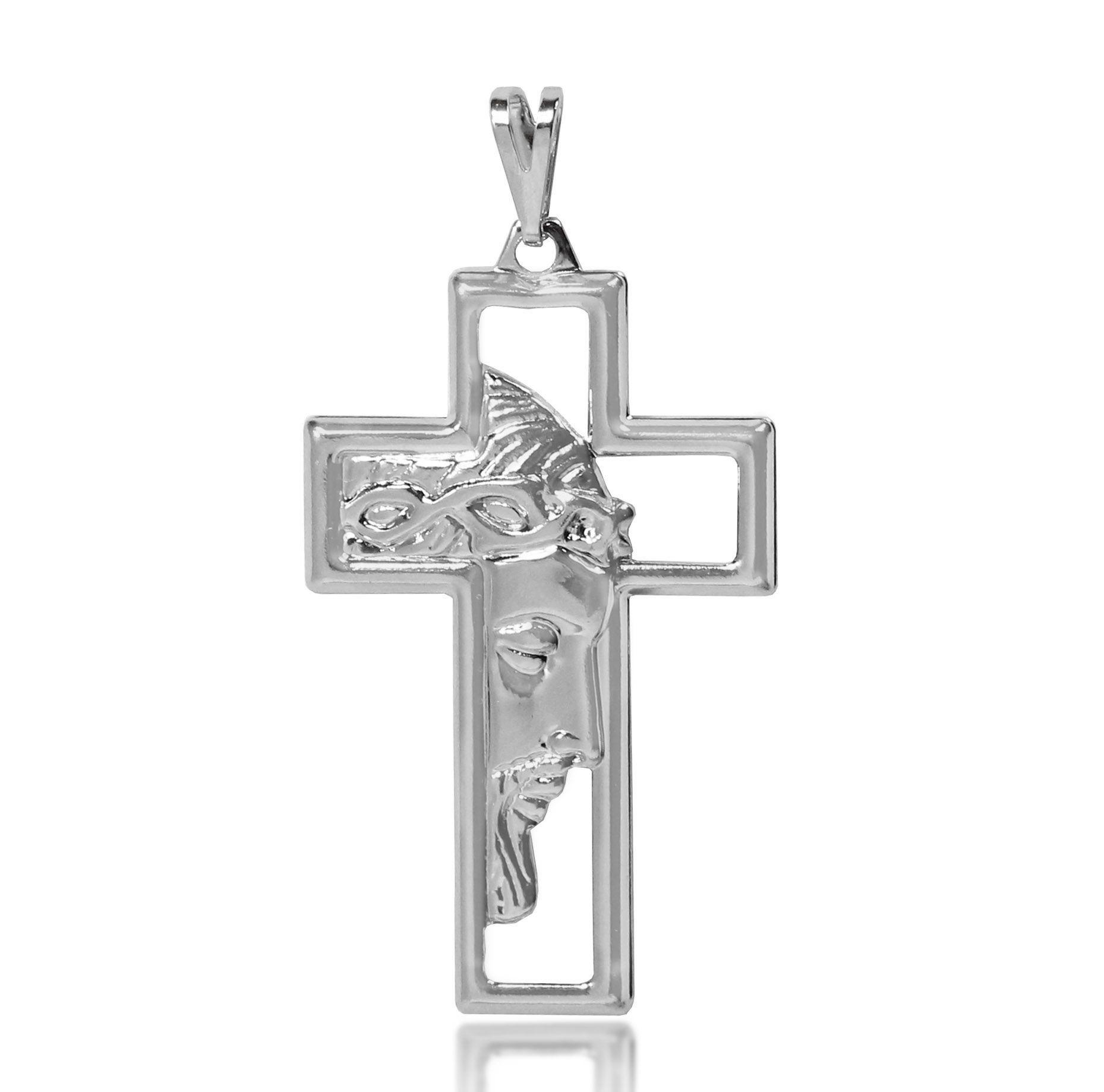 Pingente Cruz Jesus Vazado Folheado a Prata 1000