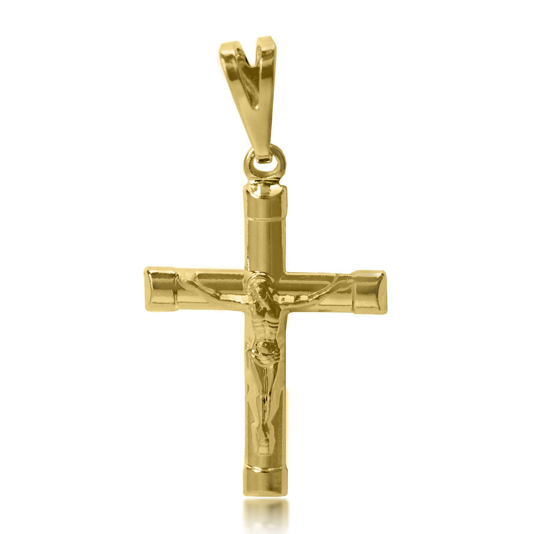 Pingente Cruz Menor Jesus Relevo Folheado a Ouro 18k