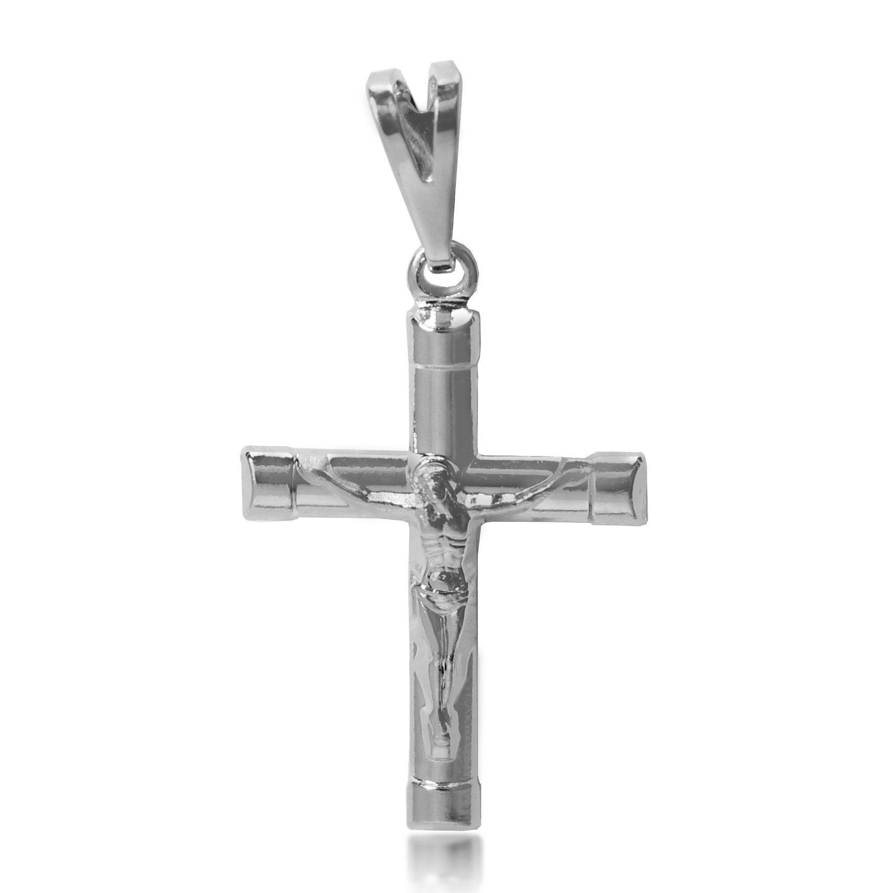 Pingente Cruz Menor Jesus Relevo Folheado a Prata 1000