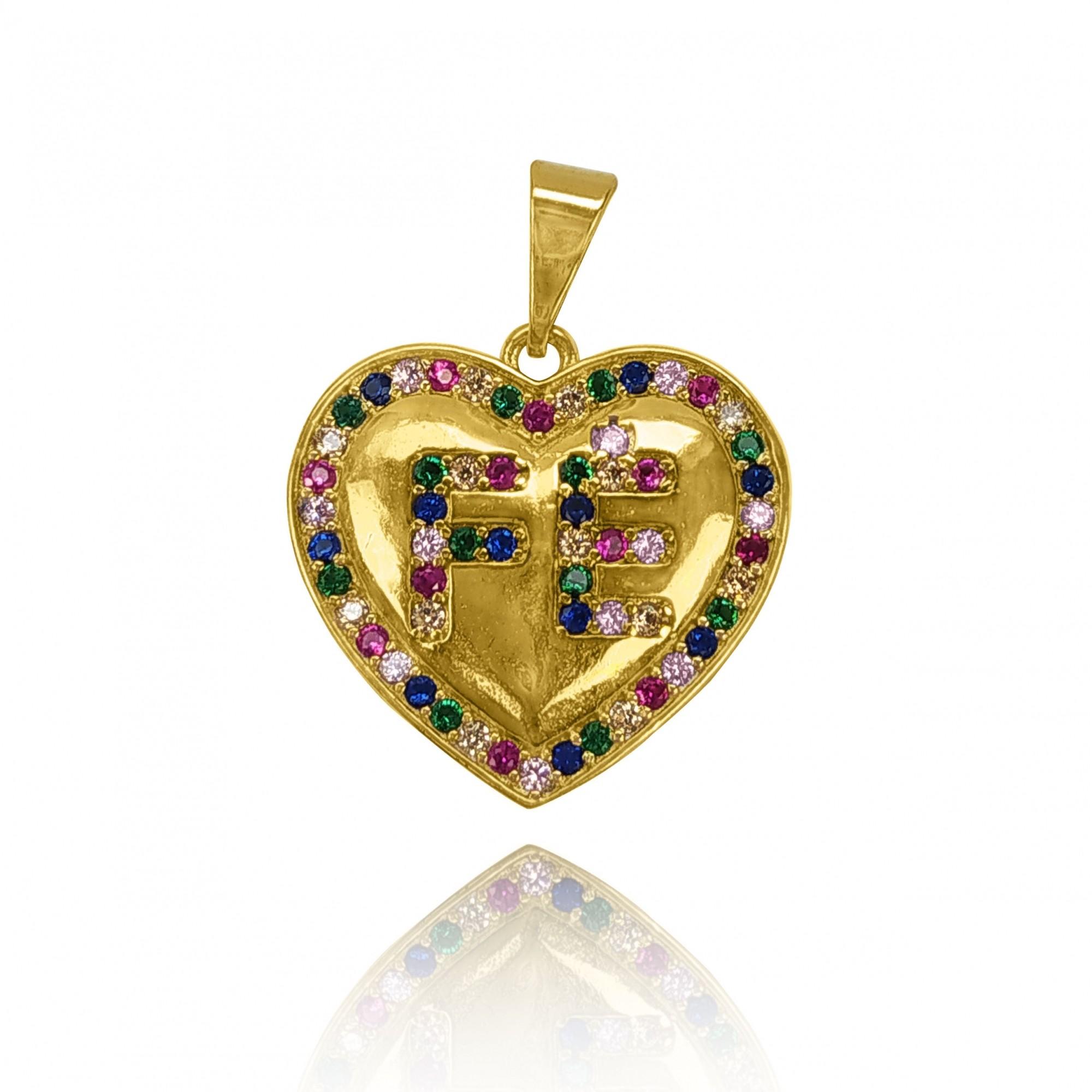 Pingente de Coração com Fé Zircônia Colorida Folheado Ouro 18k  - Lunozê Joias