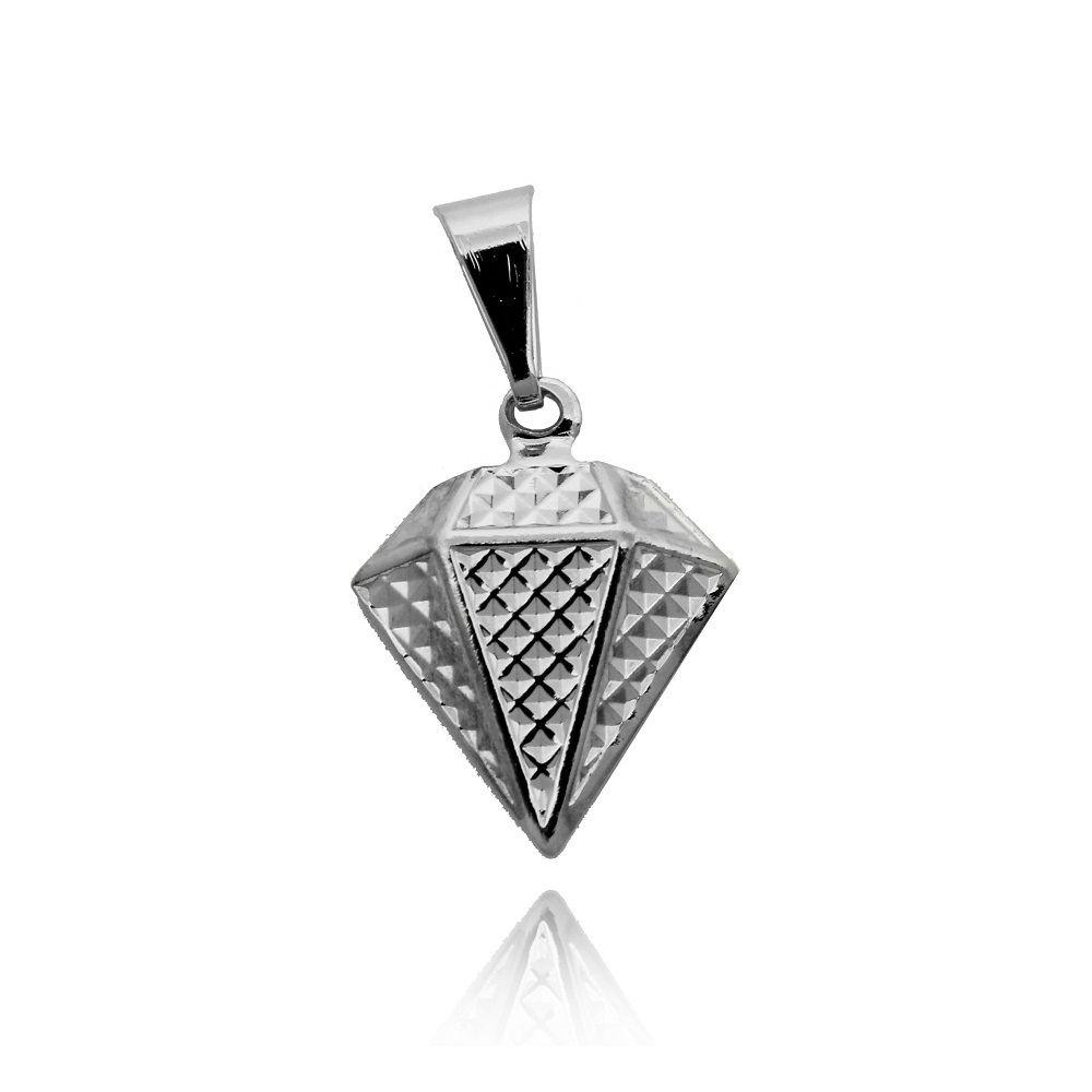 Pingente Diamante Texturizado Folheado a Prata 1000