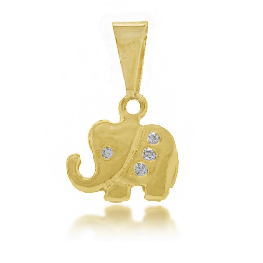 Pingente Elefante Strass Folheado a Ouro 18k