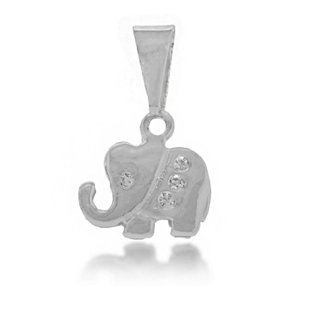 Pingente Elefante Strass Folheado a Prata 1000