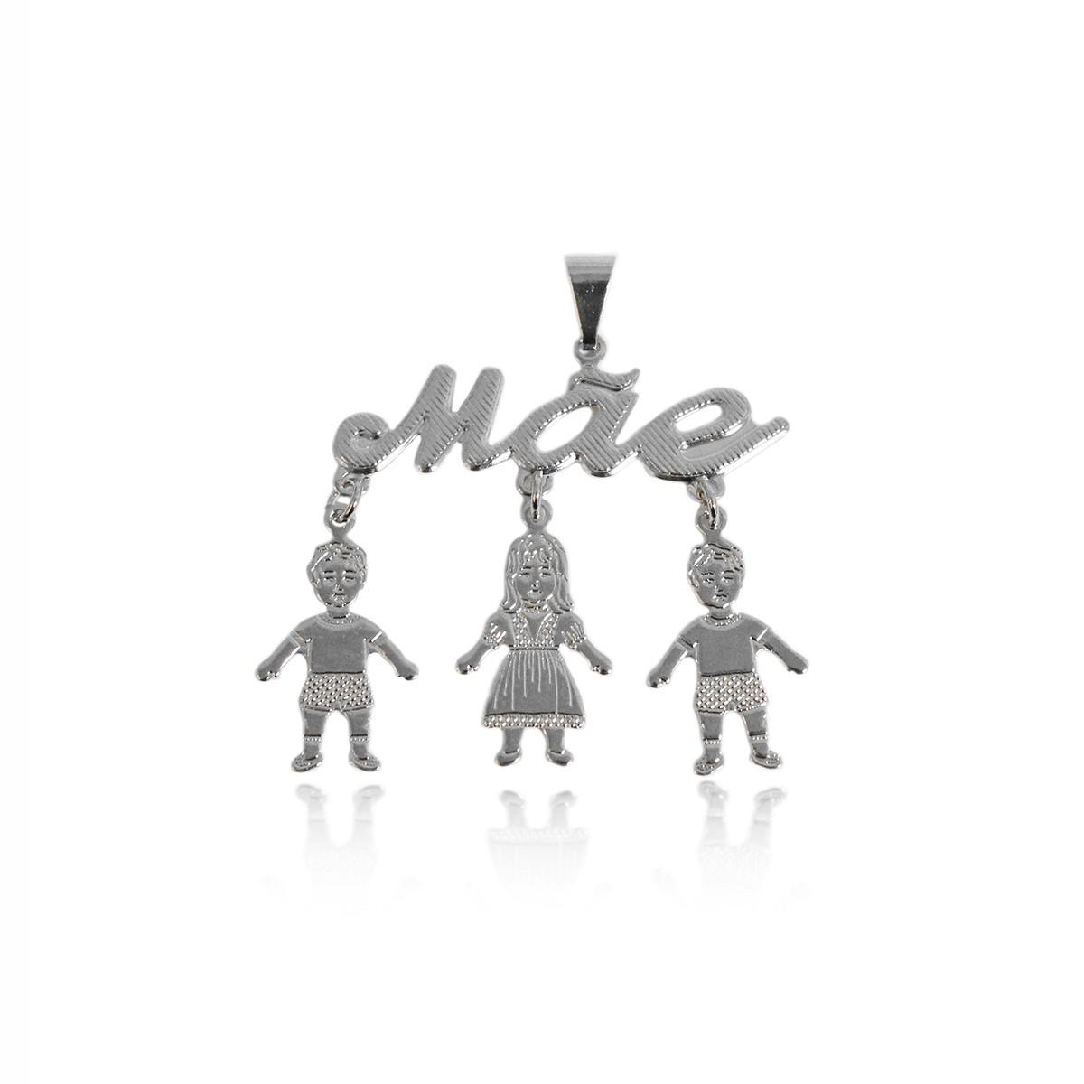 Pingente Escrito Mãe com 2 Meninos e 1 Menina Folheado a Prata 1000