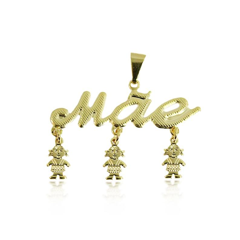 Pingente Escrito Mãe com 3 Meninas Folheado a Ouro 18k