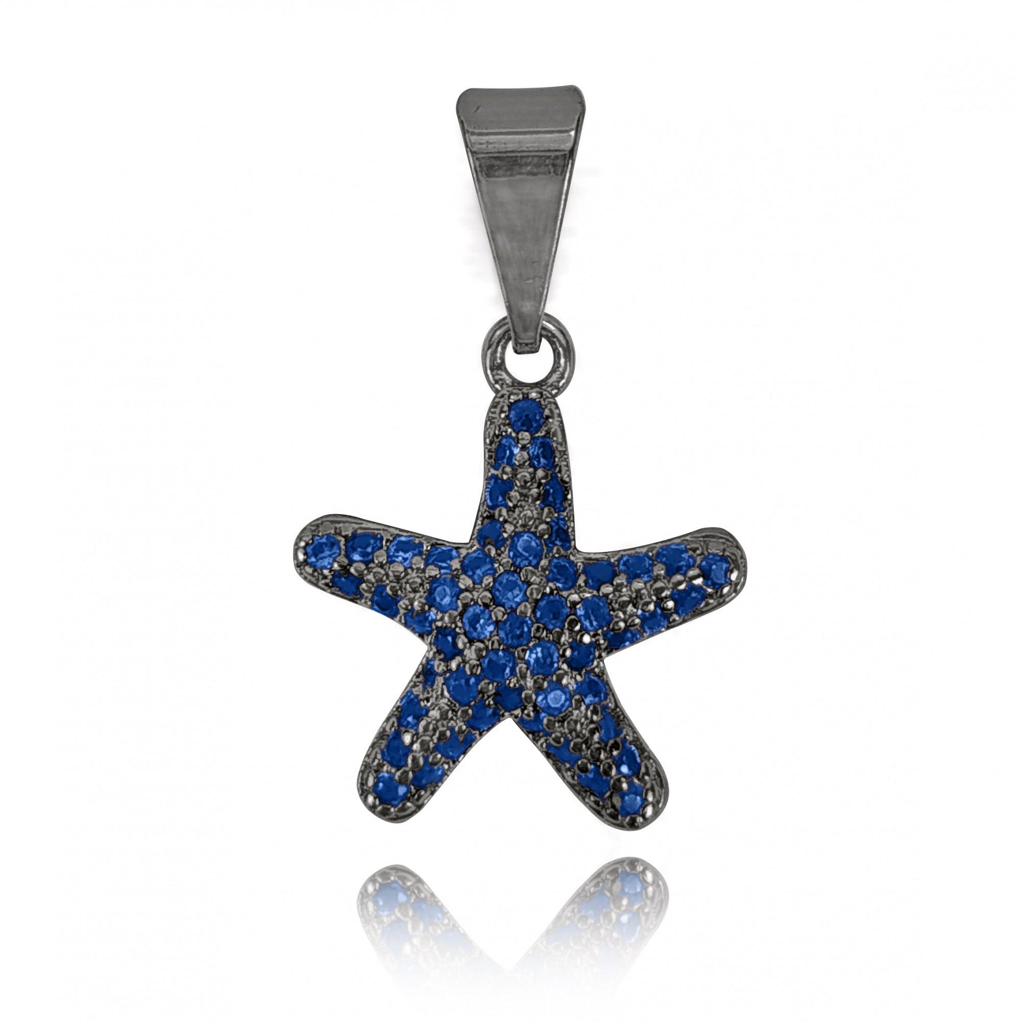 Pingente Estrela do Mar Cravejada Banho Ródio Negro  - Lunozê Joias