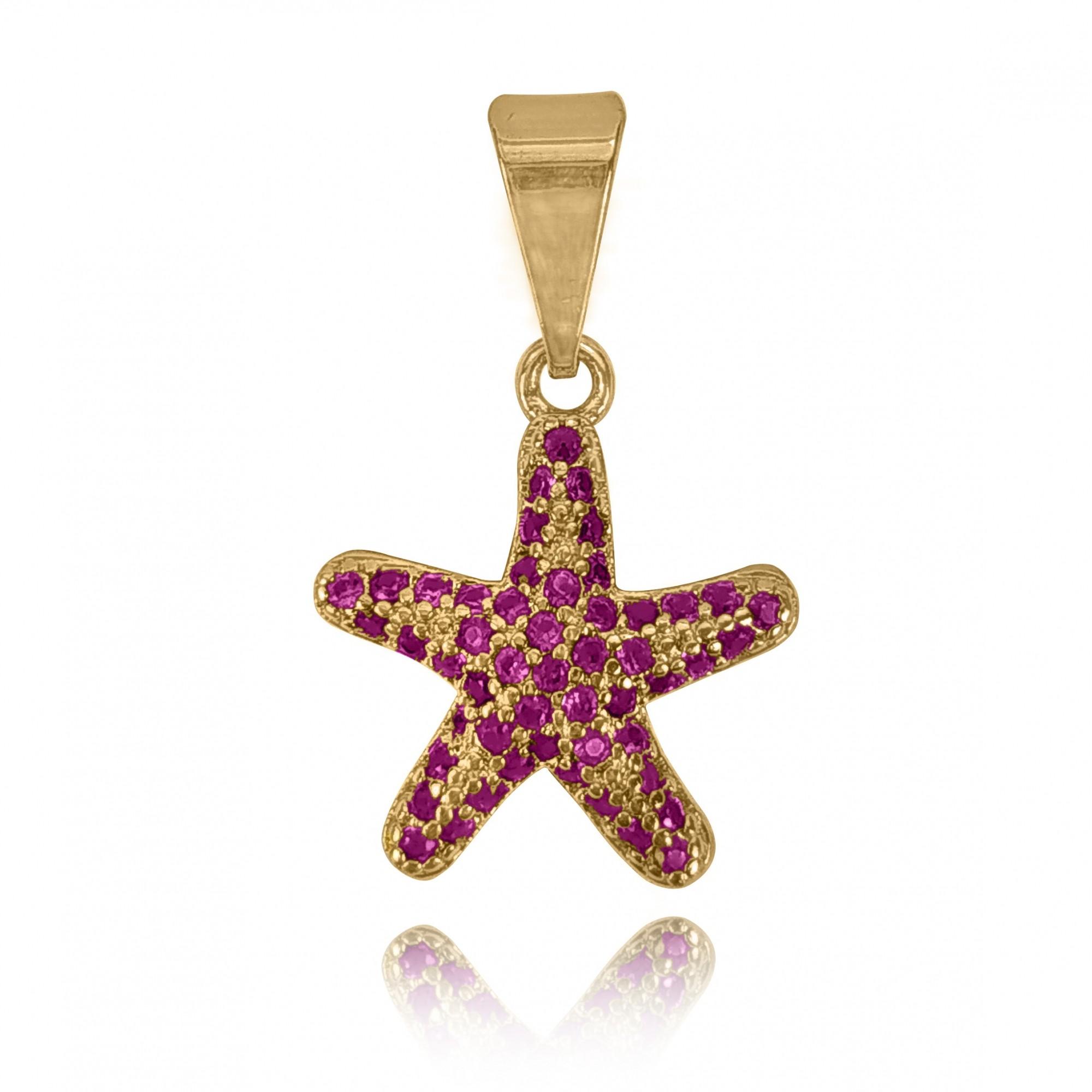 Pingente Estrela do Mar Cravejada Folheado a Ouro 18k  - Lunozê Joias