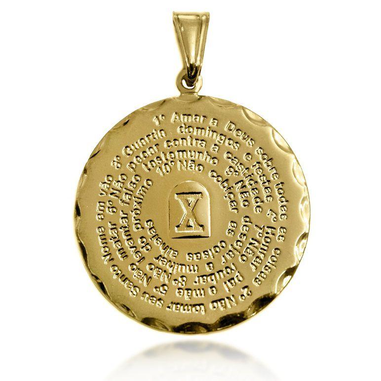 Pingente Mandala 10 Mandamentos Folheado a Ouro 18k