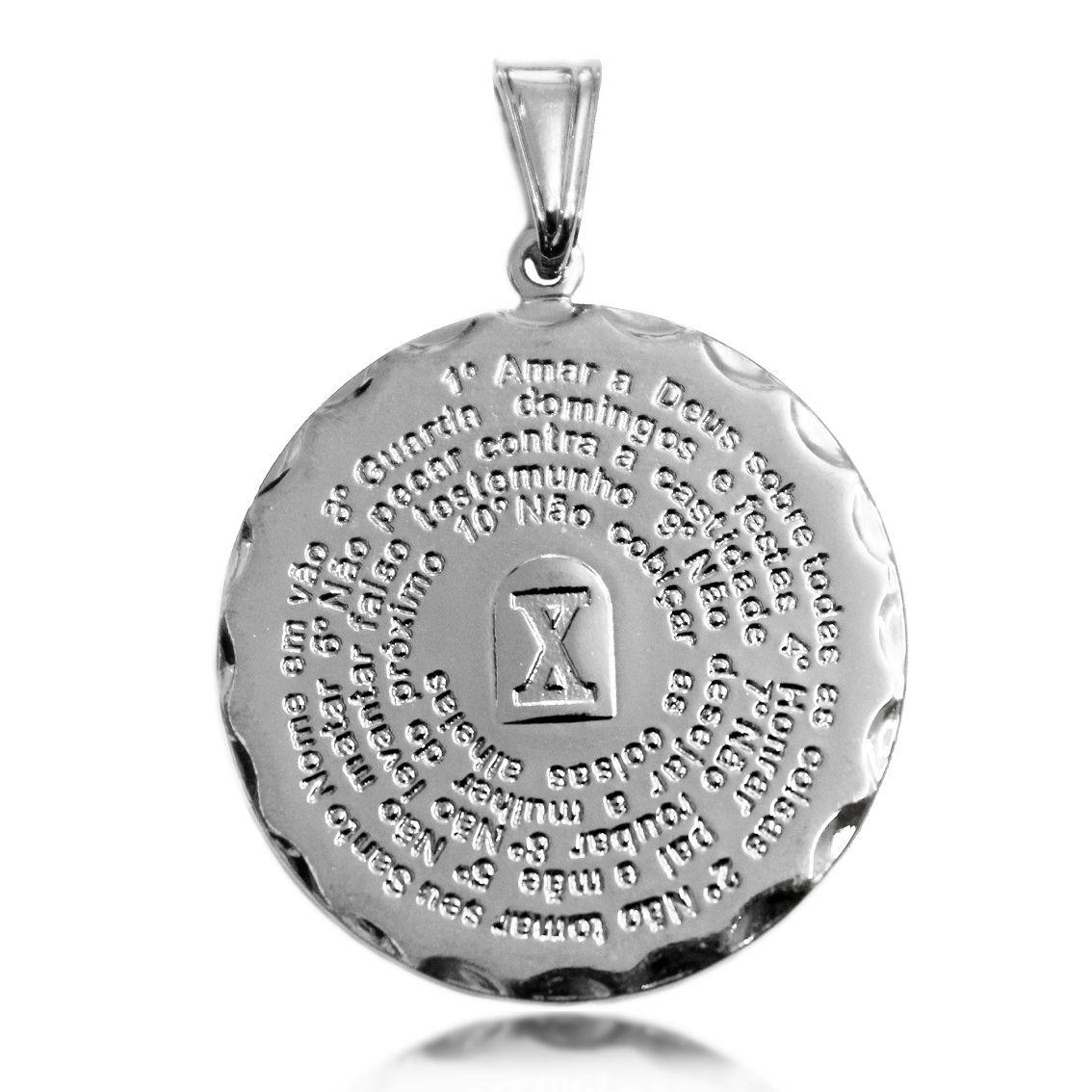 Pingente Mandala 10 Mandamentos Folheado a Prata 1000