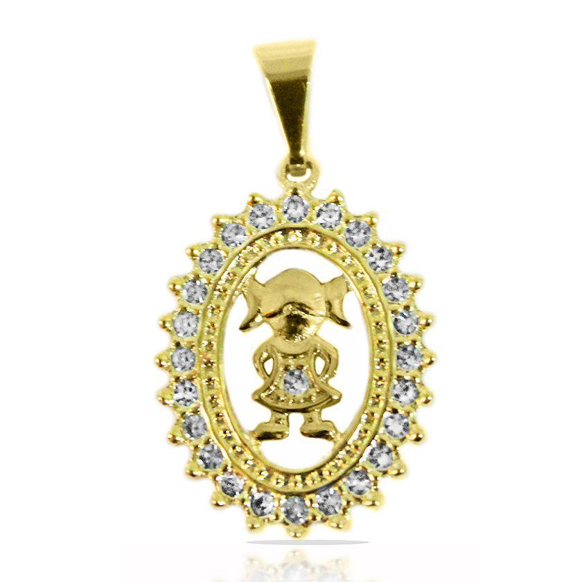 Pingente Mandala Menina Cravejado Strass Folheado a Ouro 18k