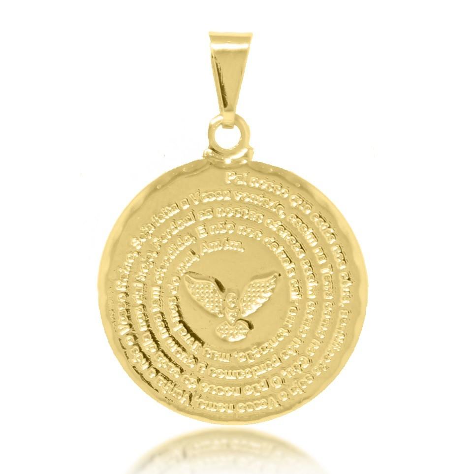 Pingente Mandala Pai Nosso Espírito Santo Folheado Ouro 18k