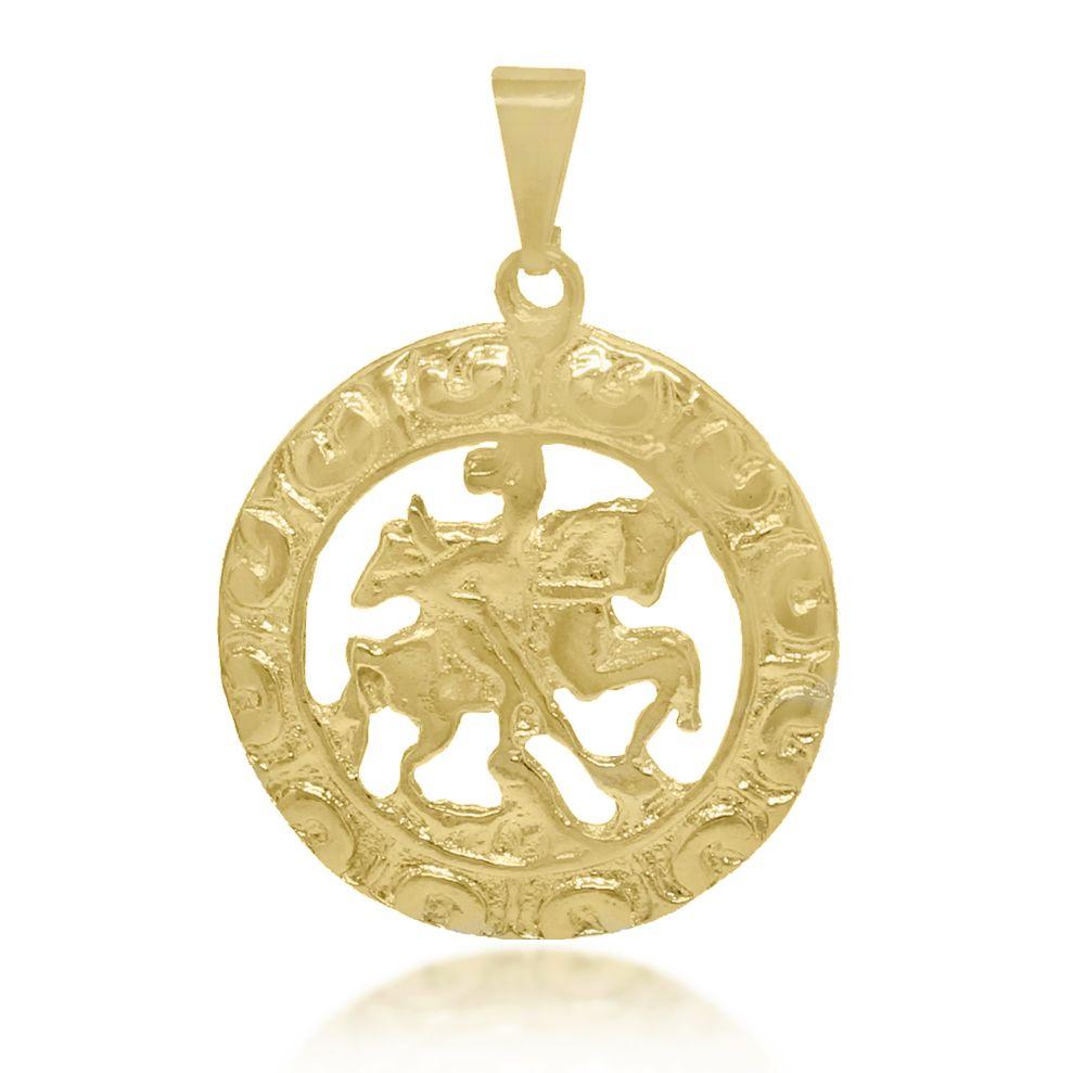 Pingente Mandala São Jorge Folheado a Ouro 18k