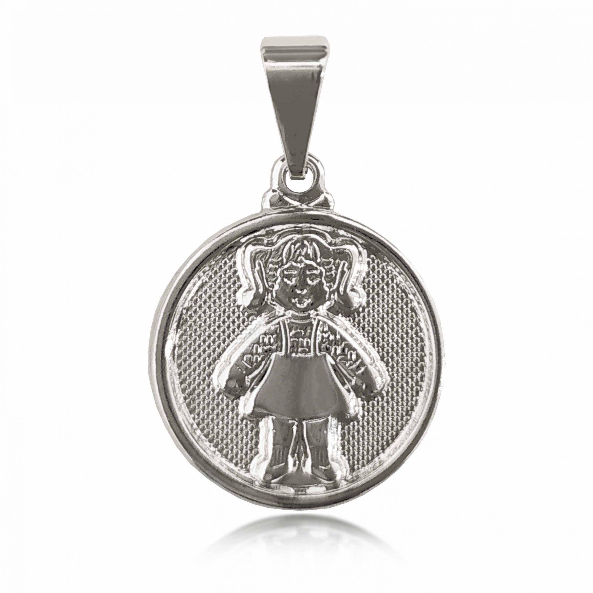Pingente Medalha 1 Menina Folheado a Prata 1000  - Lunozê Joias