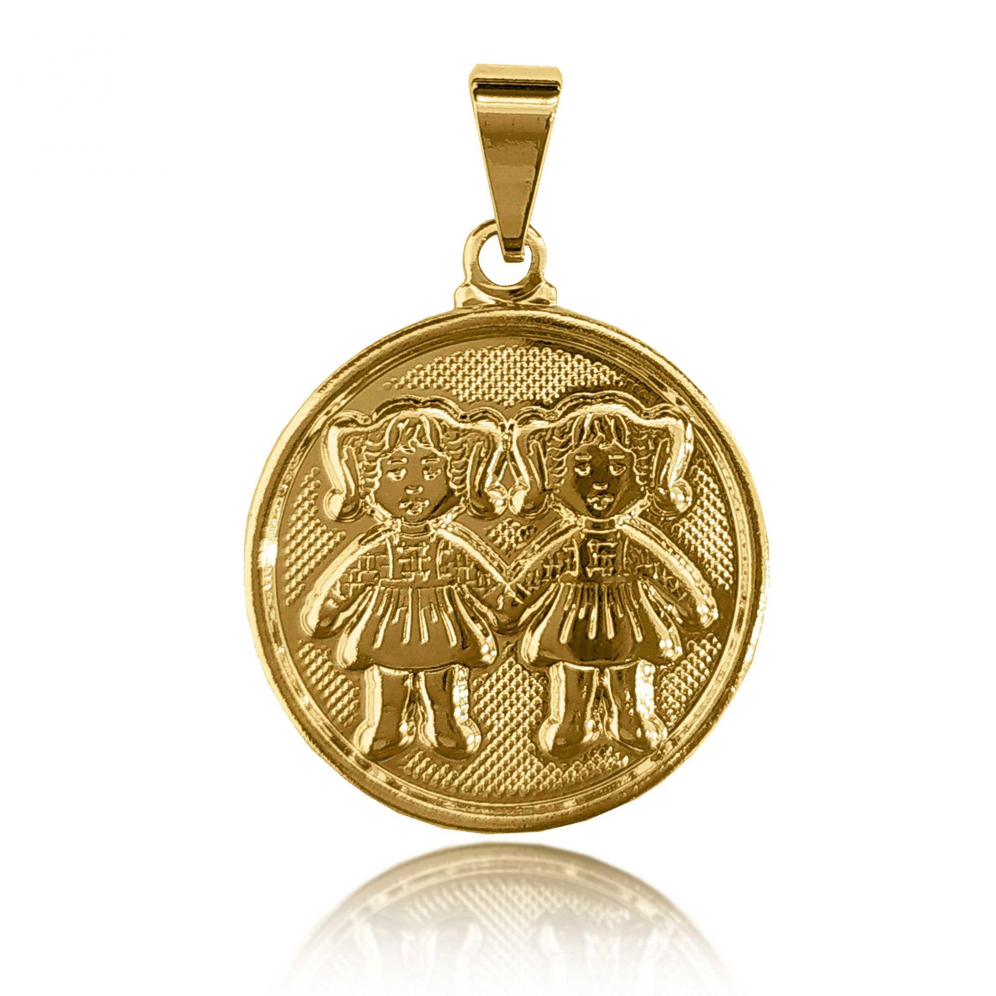 Pingente Medalha 2 Meninas Folheado a Ouro 18k  - Lunozê Joias