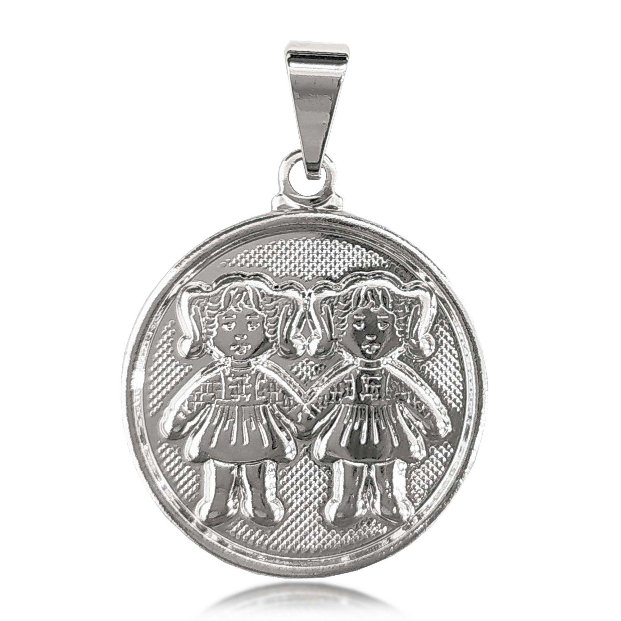 Pingente Medalha 2 Meninas Folheado a Prata 1000  - Lunozê Joias