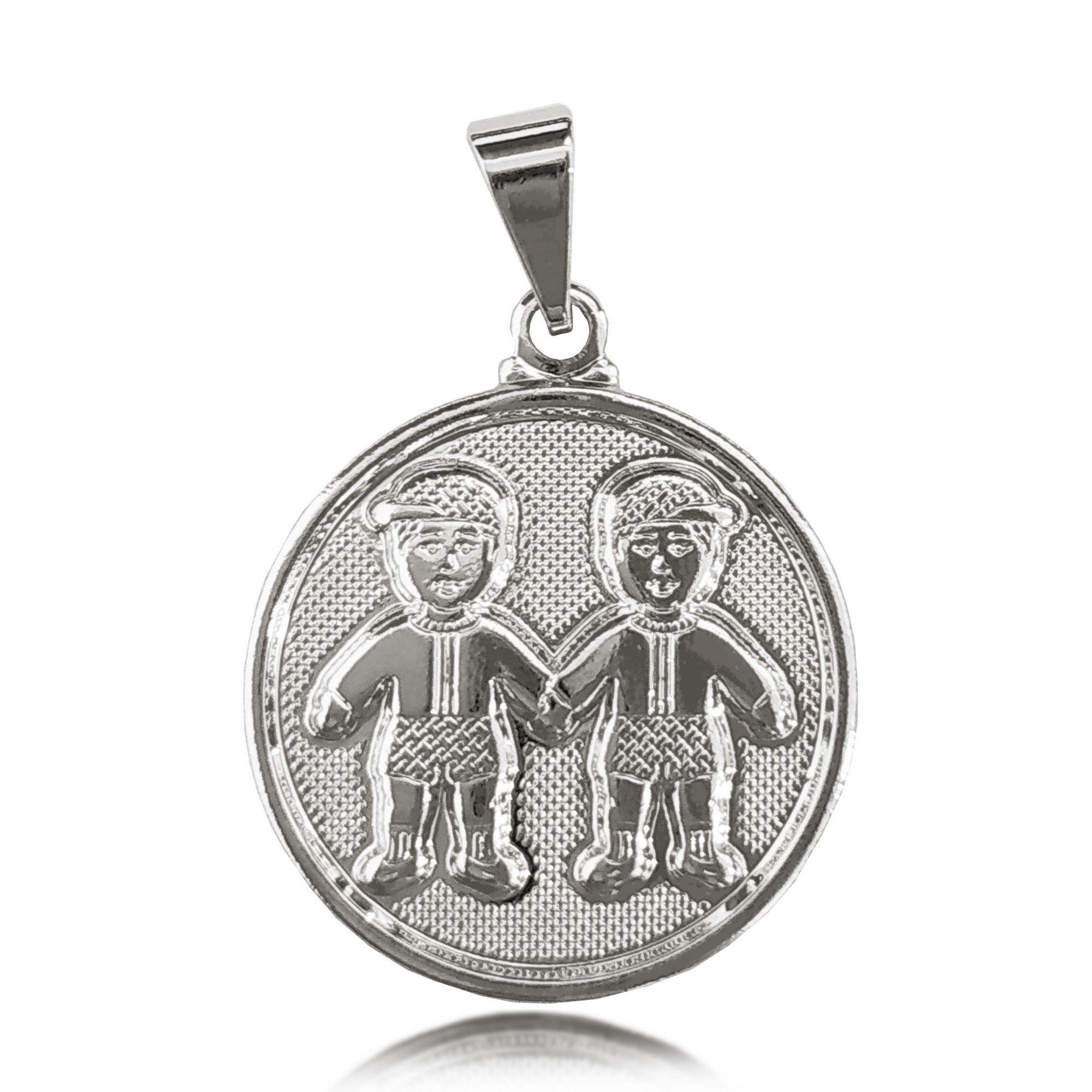 Pingente Medalha 2 Meninos Folheado a Prata 1000