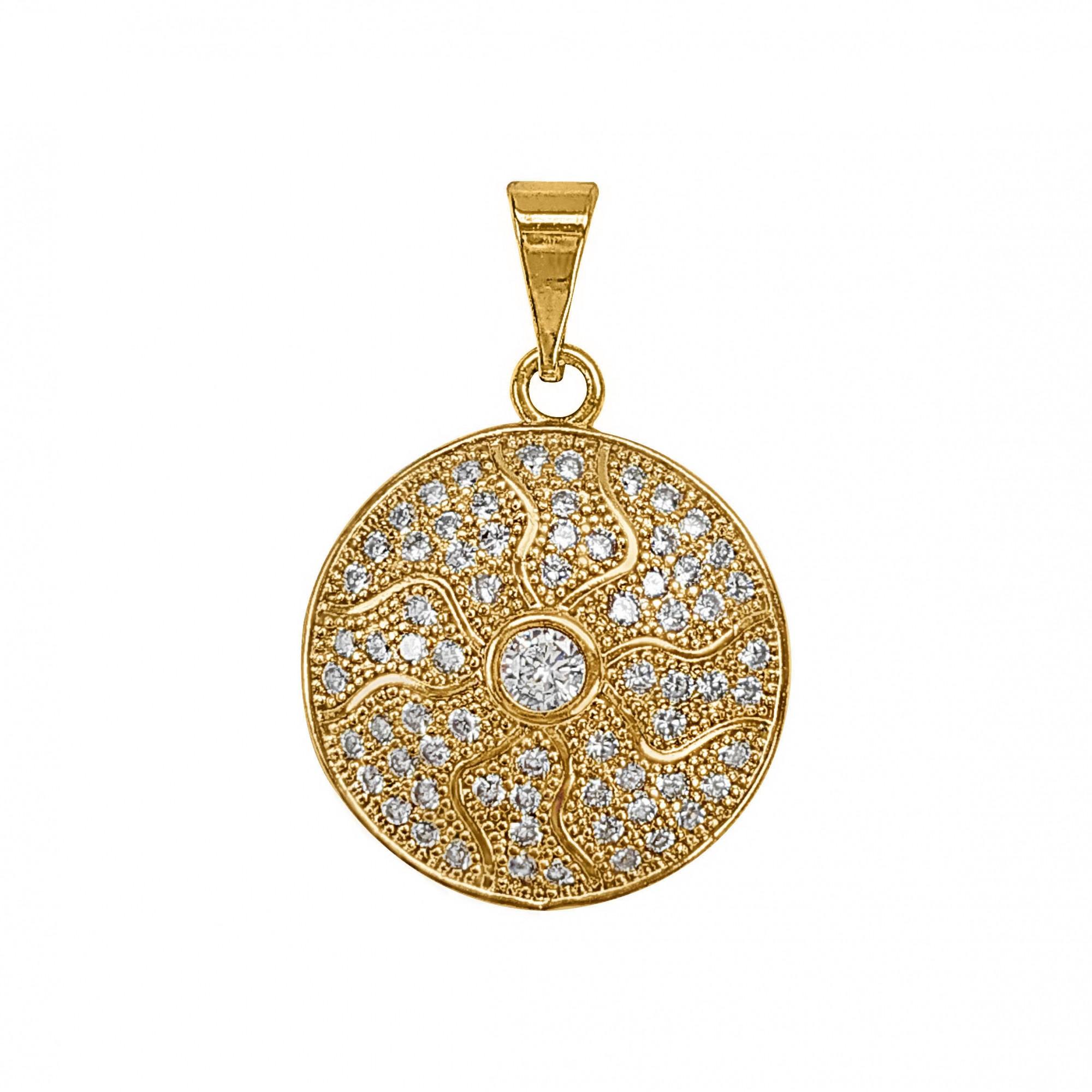 Pingente Medalha Cravejado Zircônia Folheado a Ouro 18k  - Lunozê Joias