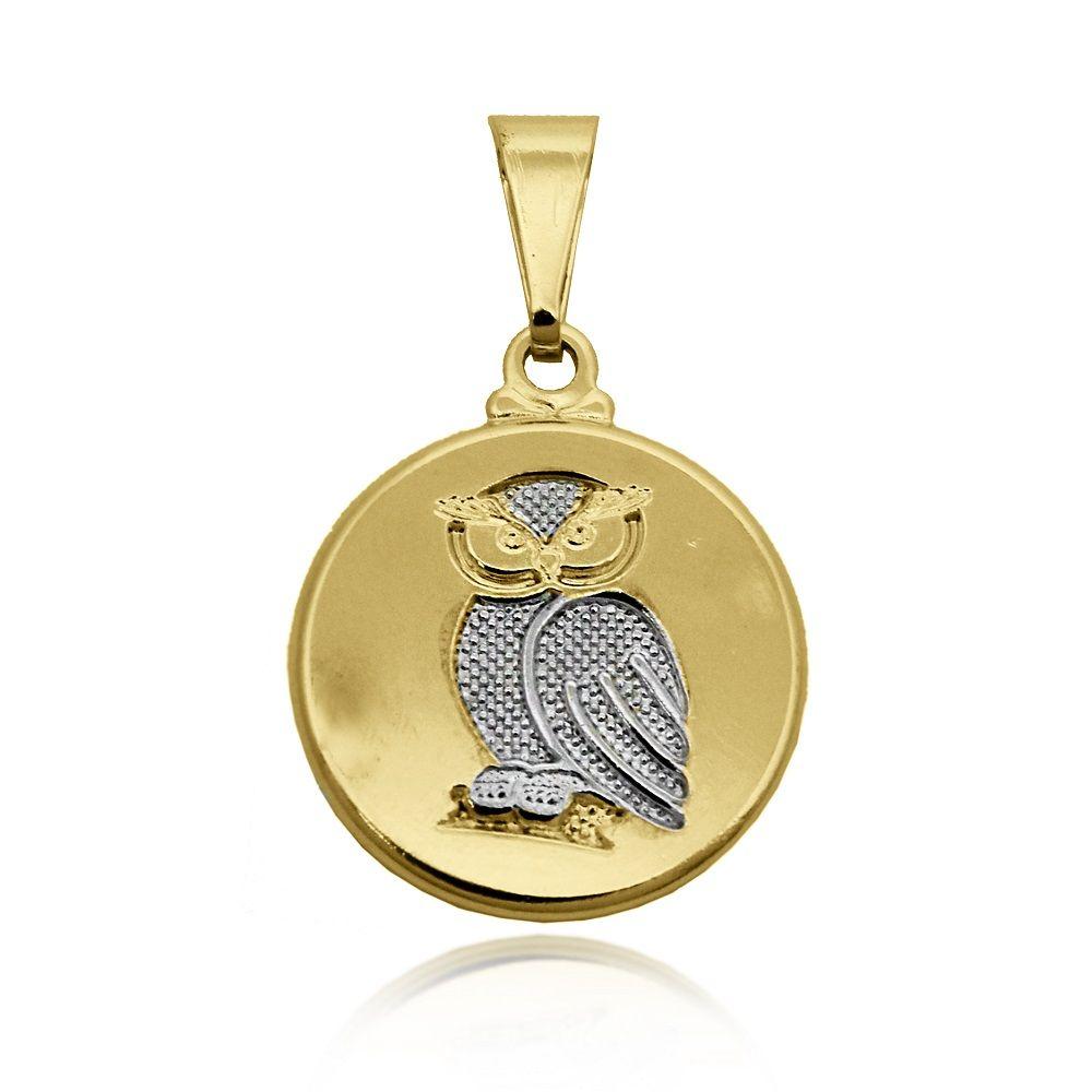 717edf5dc5a3f Pingente Medalha de Coruja Folheado Ouro 18k + Ródio - Lunozê Joias