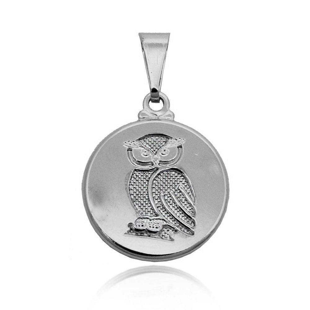 Pingente Medalha de Coruja Folheado Prata 1000
