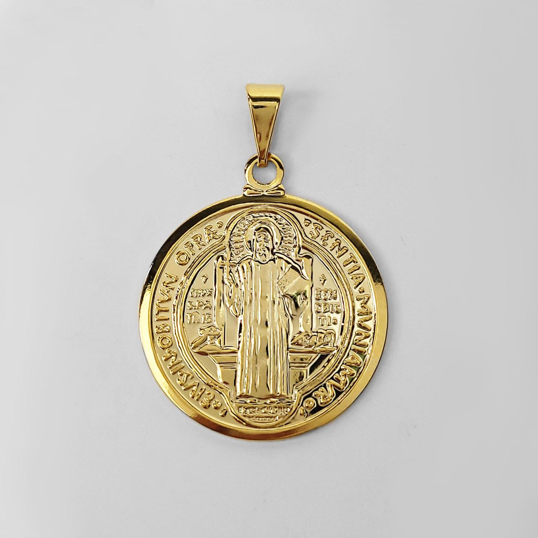 Pingente Medalha de São Bento Folheada a Ouro 18k  - Lunozê Joias