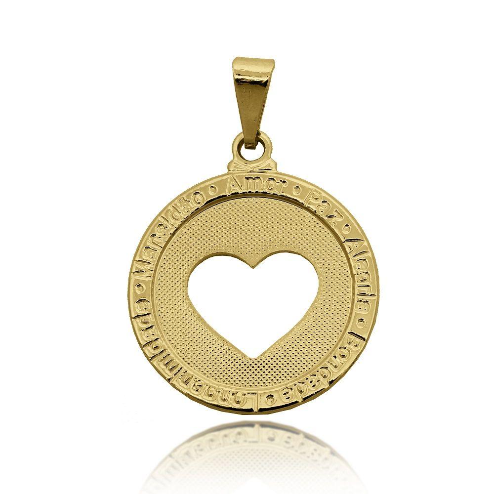 Pingente Medalha Desejos e Coração Vazado Folheado Ouro 18k