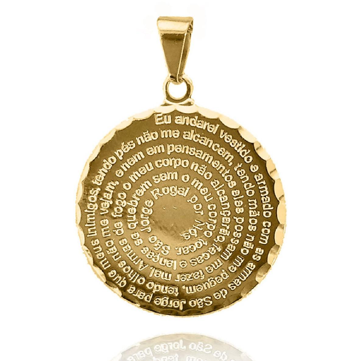Pingente Medalha Oração de São Jorge Folheada a Ouro 18k   - Lunozê Joias