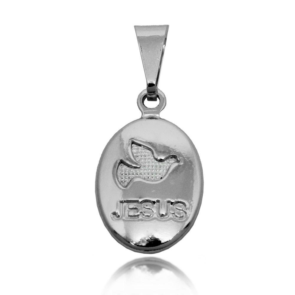 Pingente Medalha Pomba da Paz Jesus Folheado a Prata 1000