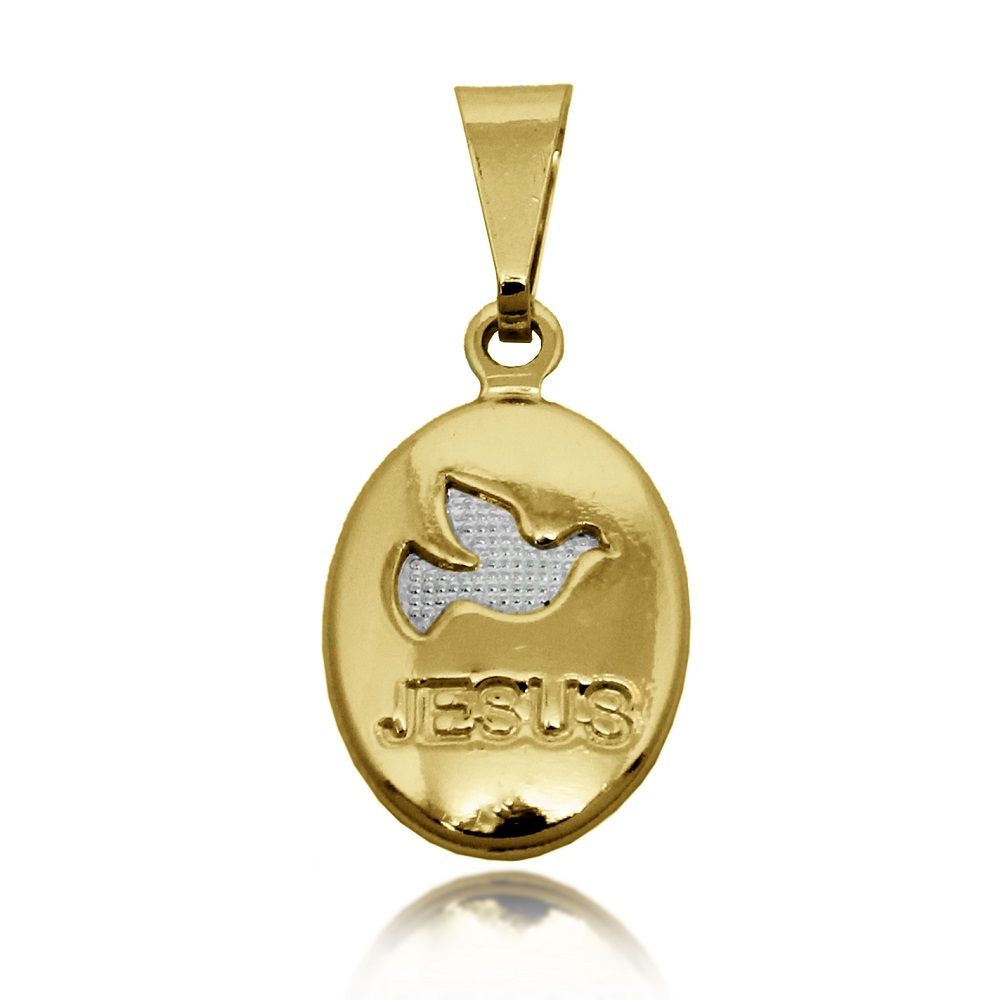 Pingente Medalha Pomba da Paz Jesus Folheado Ouro + Ródio