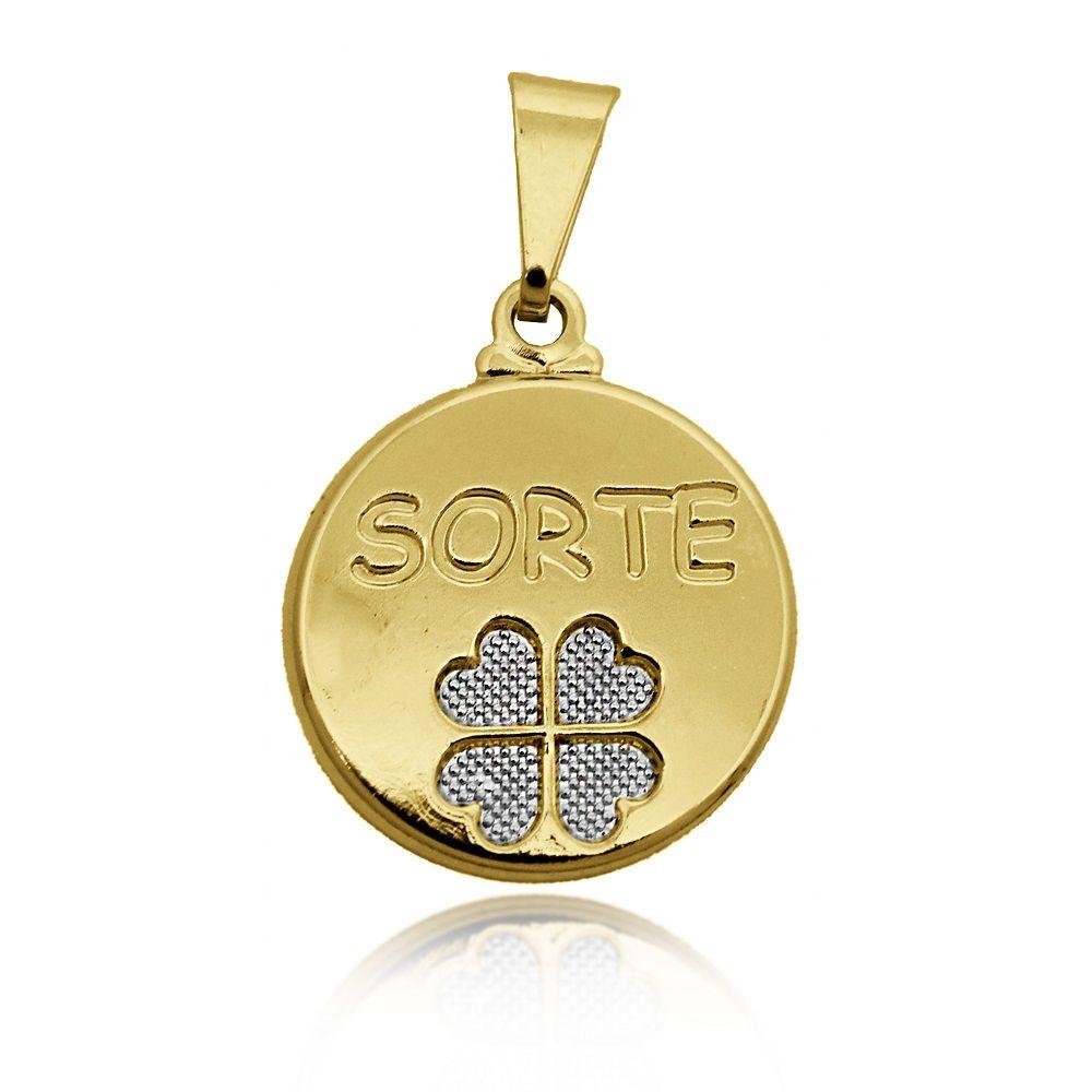Pingente Medalha Sorte e Trevo Folheado Ouro + Ródio