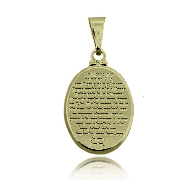 Pingente Medalinha Pai Nosso Folheado Ouro 18k