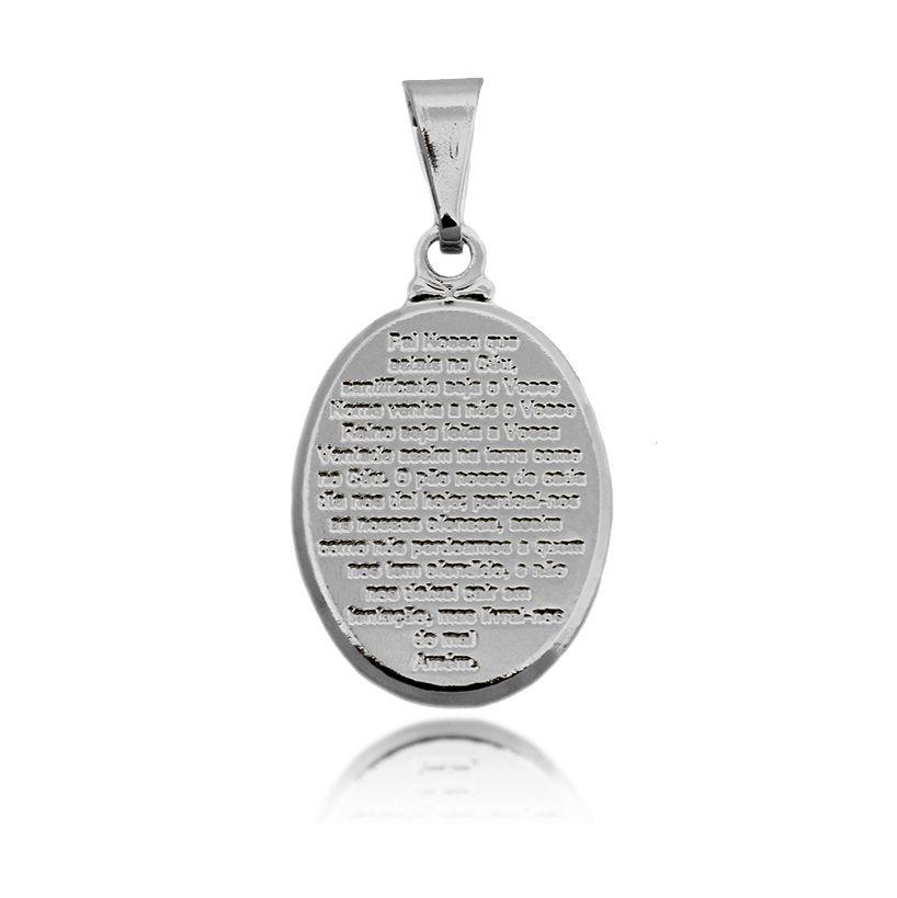 Pingente Medalinha Pai Nosso Folheado Prata 1000