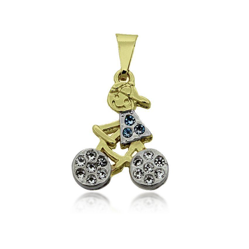 Pingente Menino na Bicicleta Folheado Ouro + Ródio