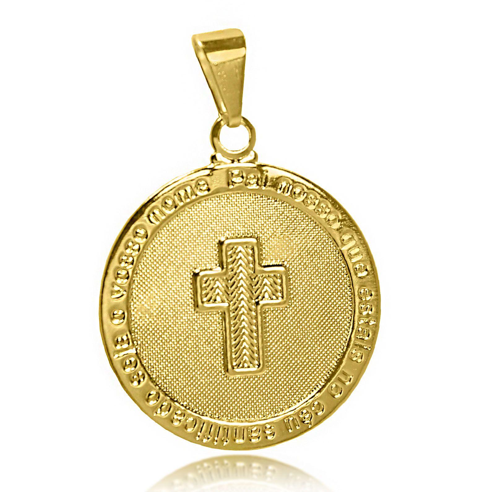 Pingente Pai Nosso com Cruz Folheado Ouro 18k