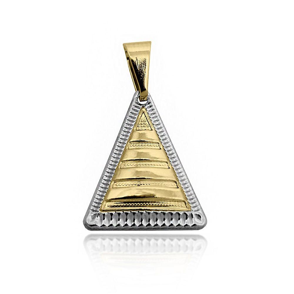 a7ff3e30b99f5 Pingente Triangular Texturizado Folheado Ouro 18k + Ródio - Lunozê Joias