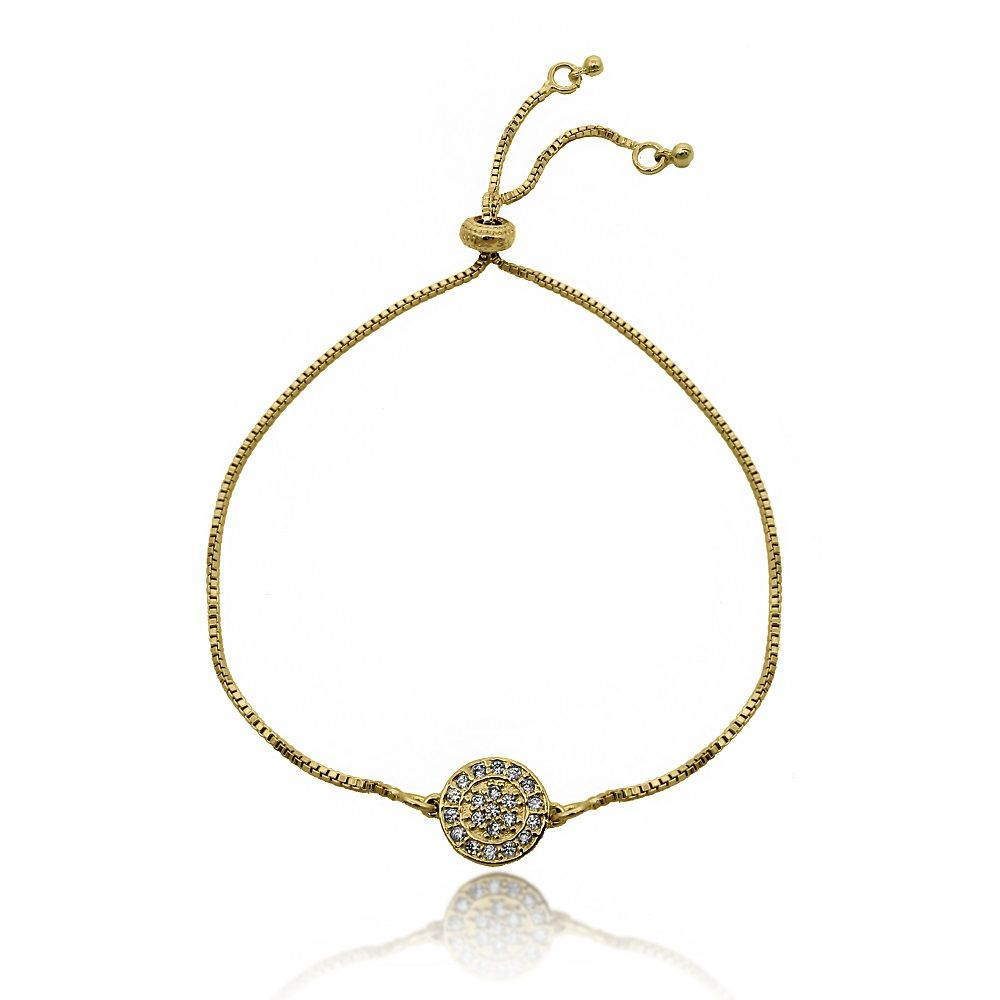 Pulseira Ajust Mandala Cravejada Zircônias Folheado Ouro 18k