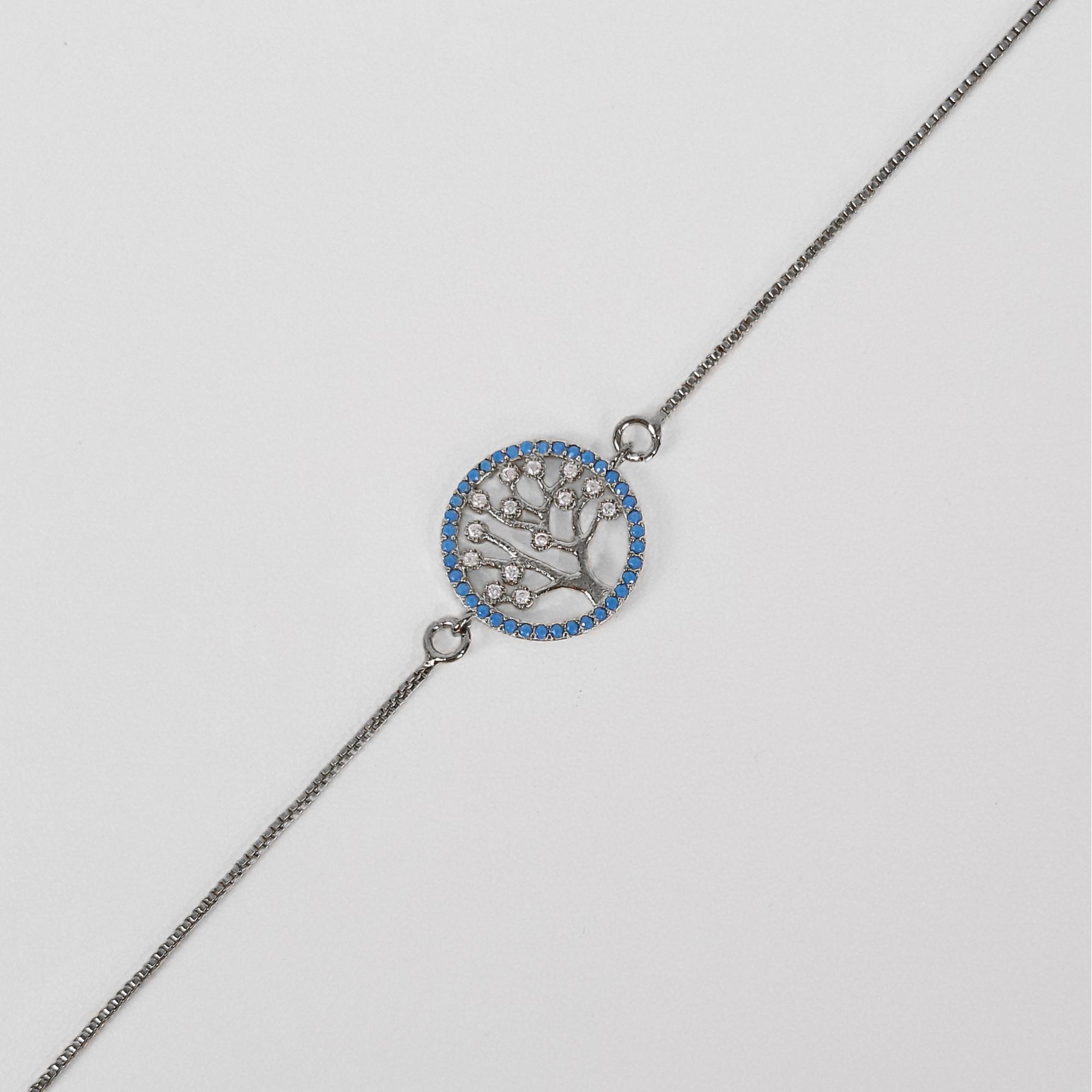 Pulseira Árvore da Vida Azul Zircônia Banho Ródio Negro  - Lunozê Joias