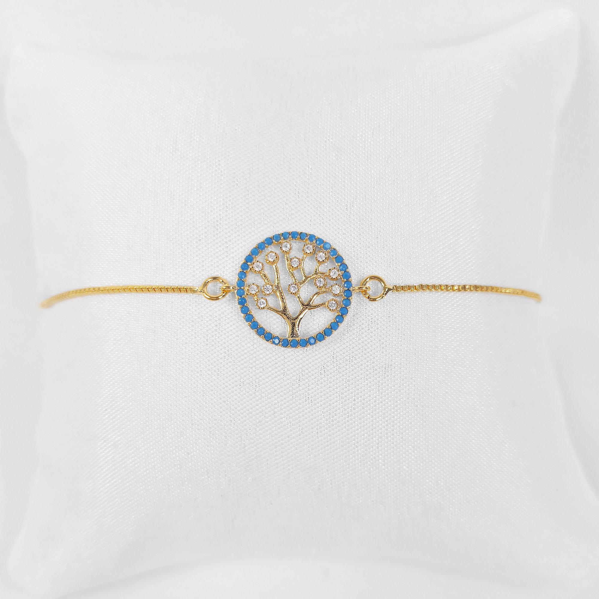 Pulseira Árvore da Vida Azul Zircônia Folheado a Ouro 18k  - Lunozê Joias