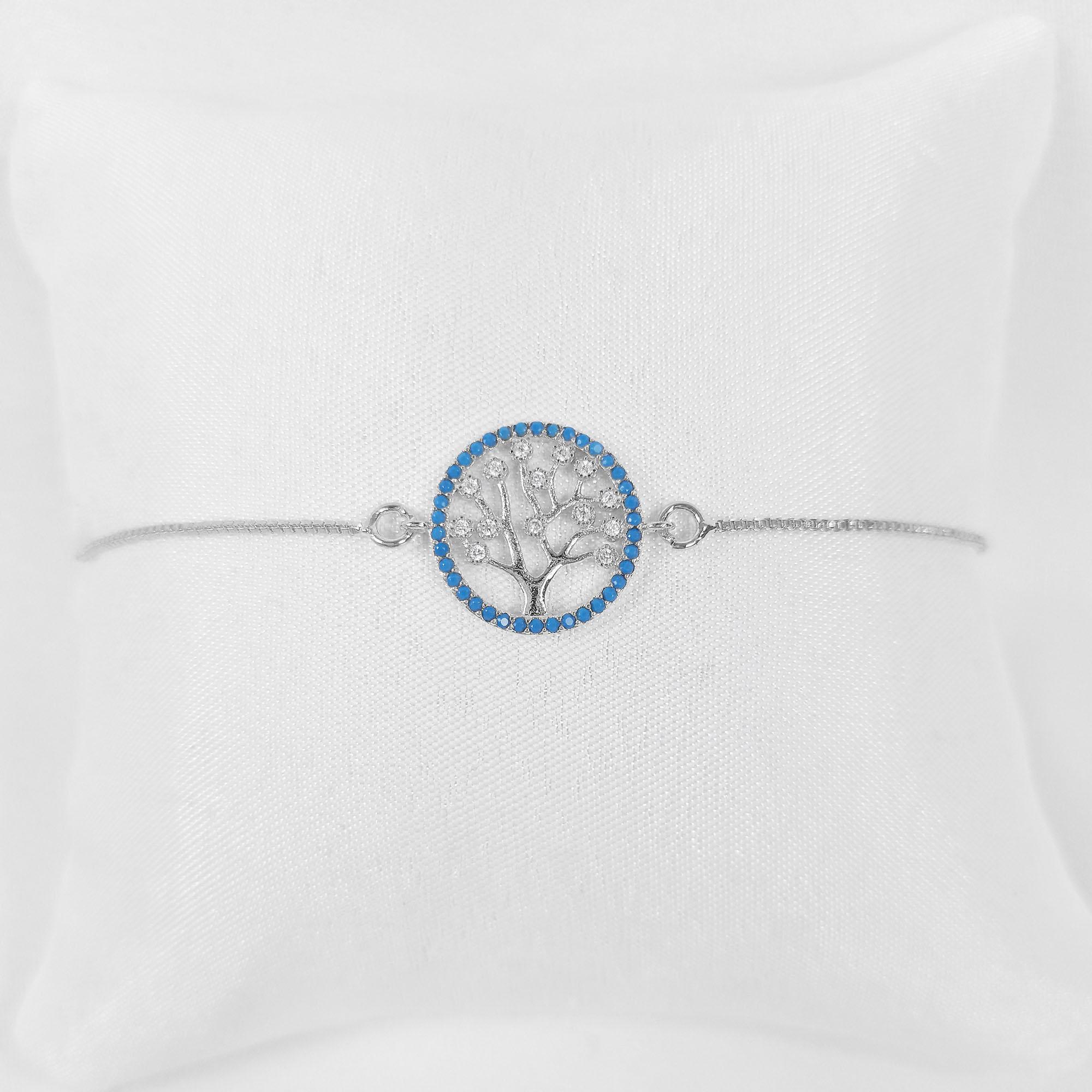 Pulseira Árvore da Vida Azul Zircônia Folheado a Prata 1000  - Lunozê Joias