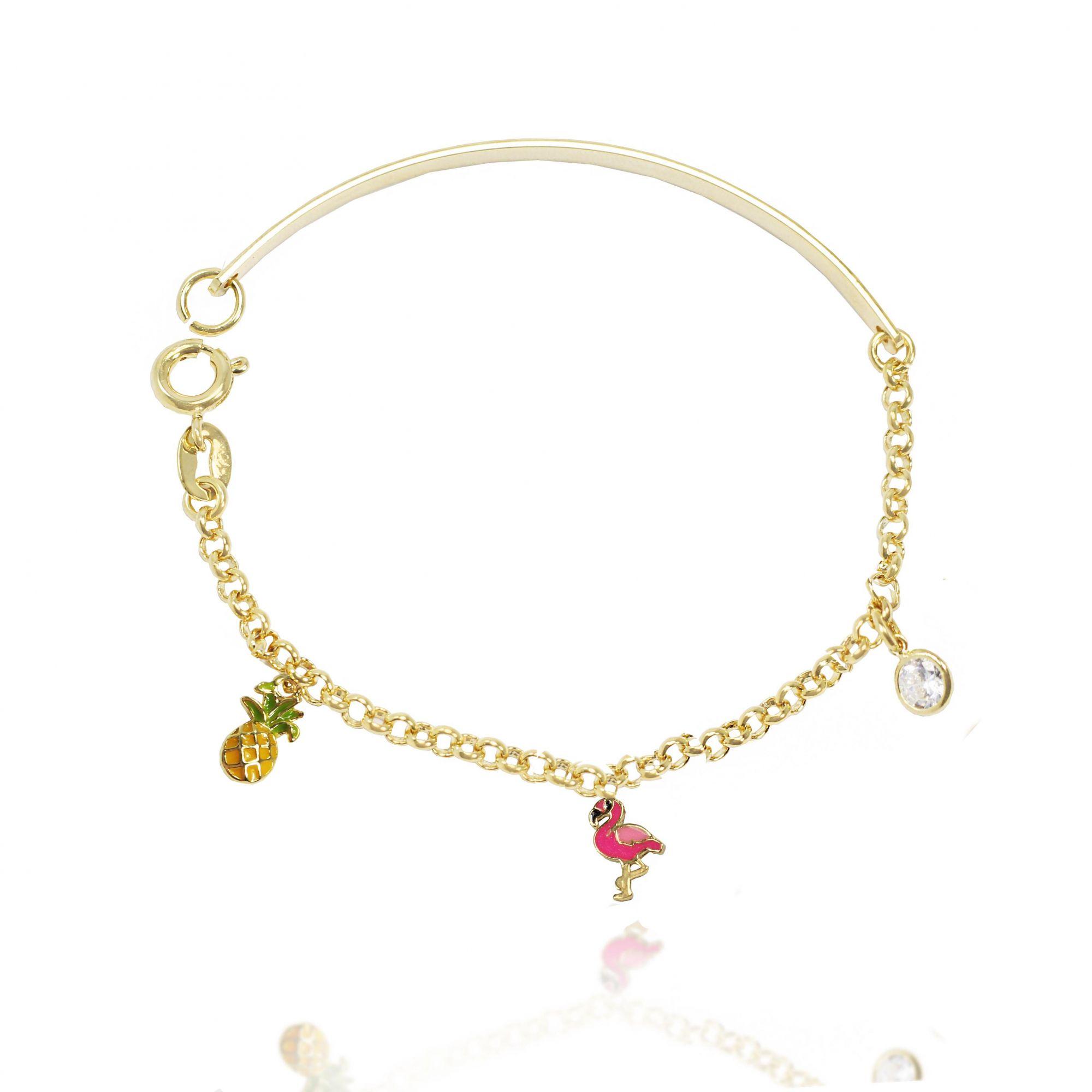 Pulseira Bracelete Infantil Flamingo Folheado Ouro 18k