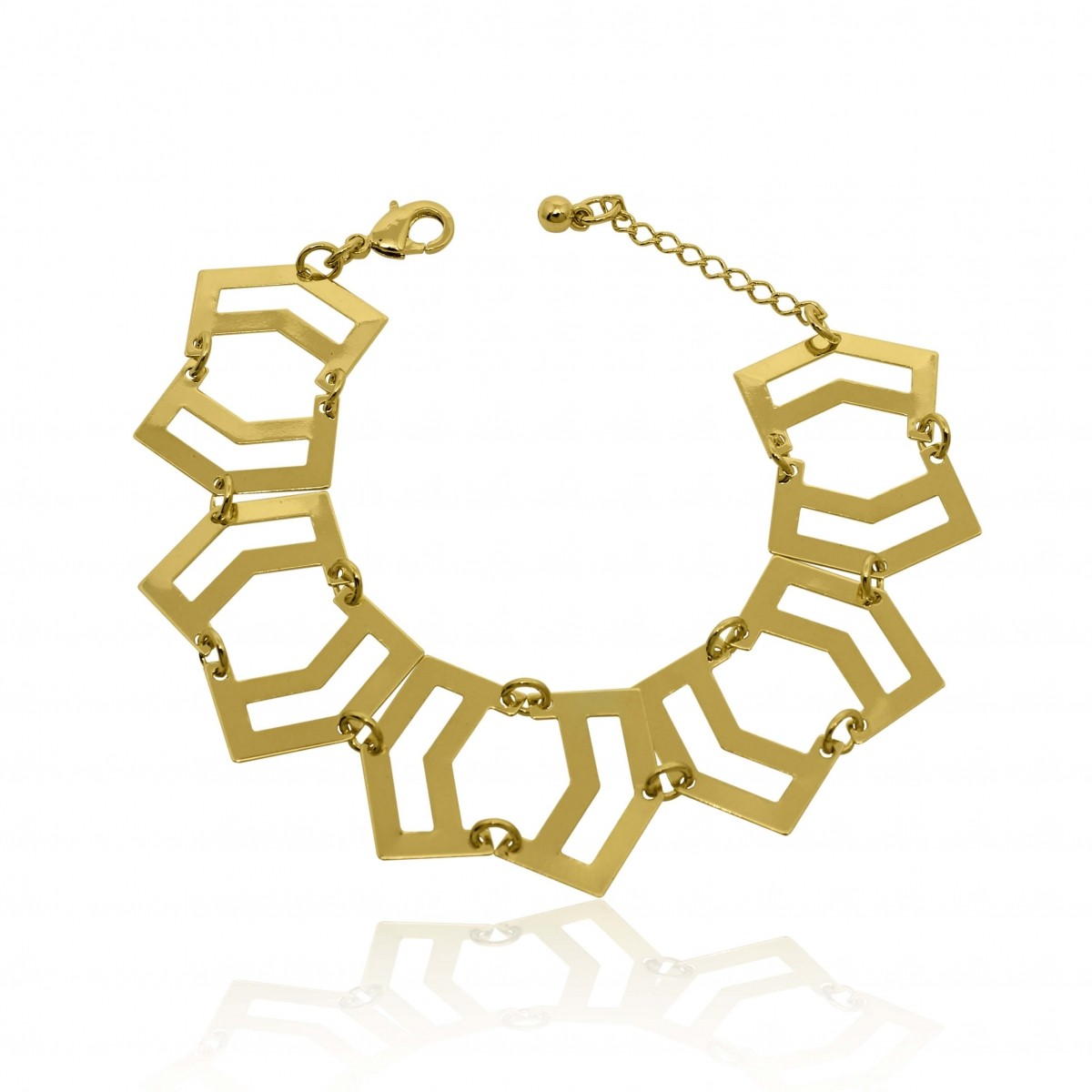 Pulseira Bracelete Geométrico Folheado a Ouro 18k