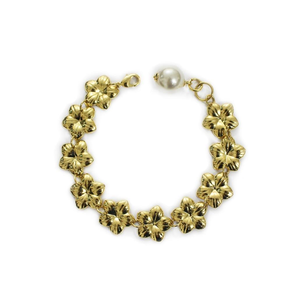 Pulseira com Flores Adornado Por uma Peróla Folheado a Ouro 18k