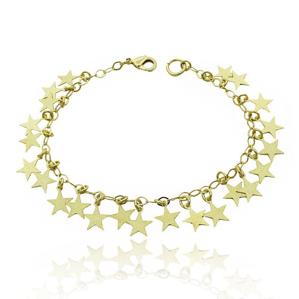 Pulseira com Pendentes de Estrelas Folheado a Ouro 18k