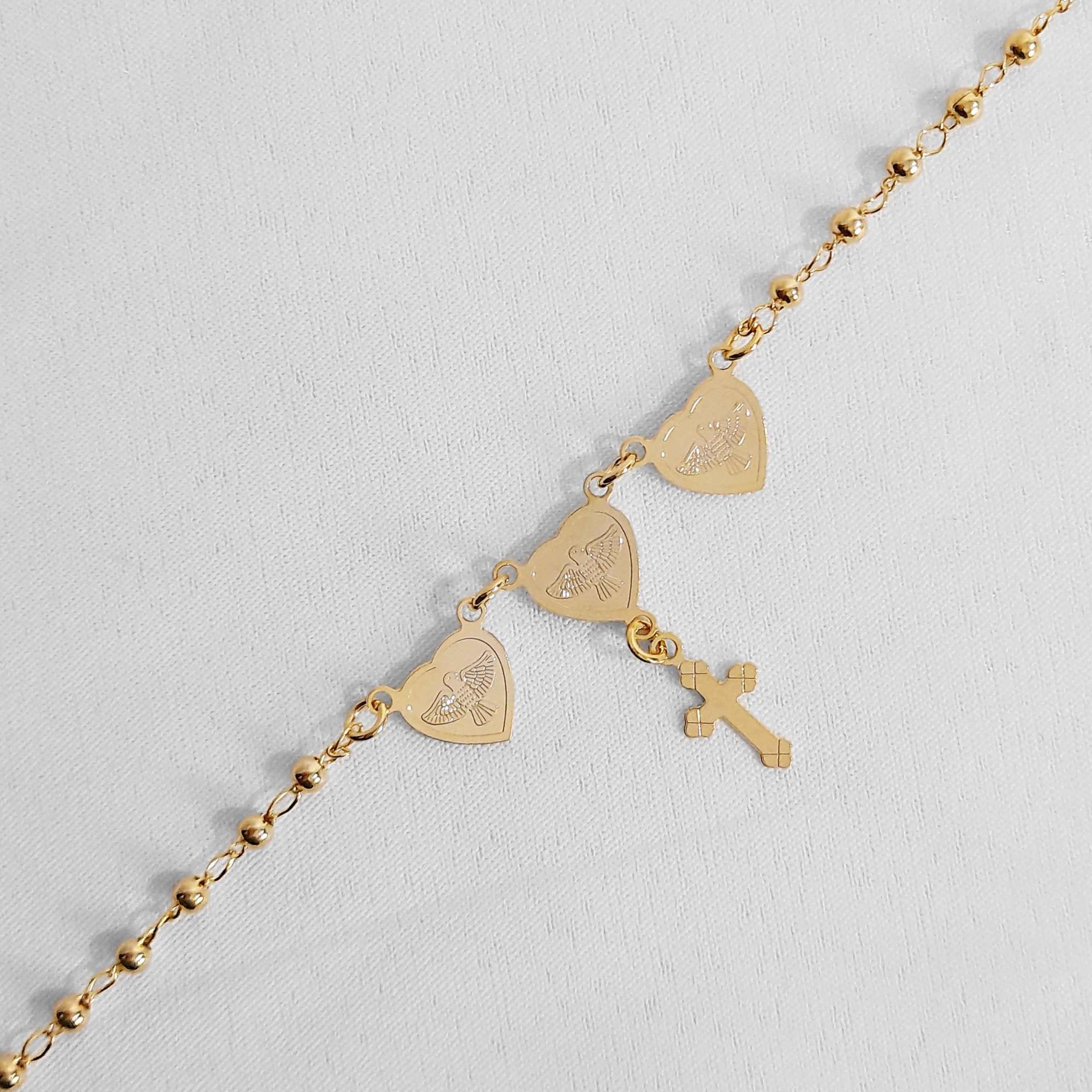 Pulseira Corações com Espirito Santo e Cruz Folheada Ouro 18k  - Lunozê Joias