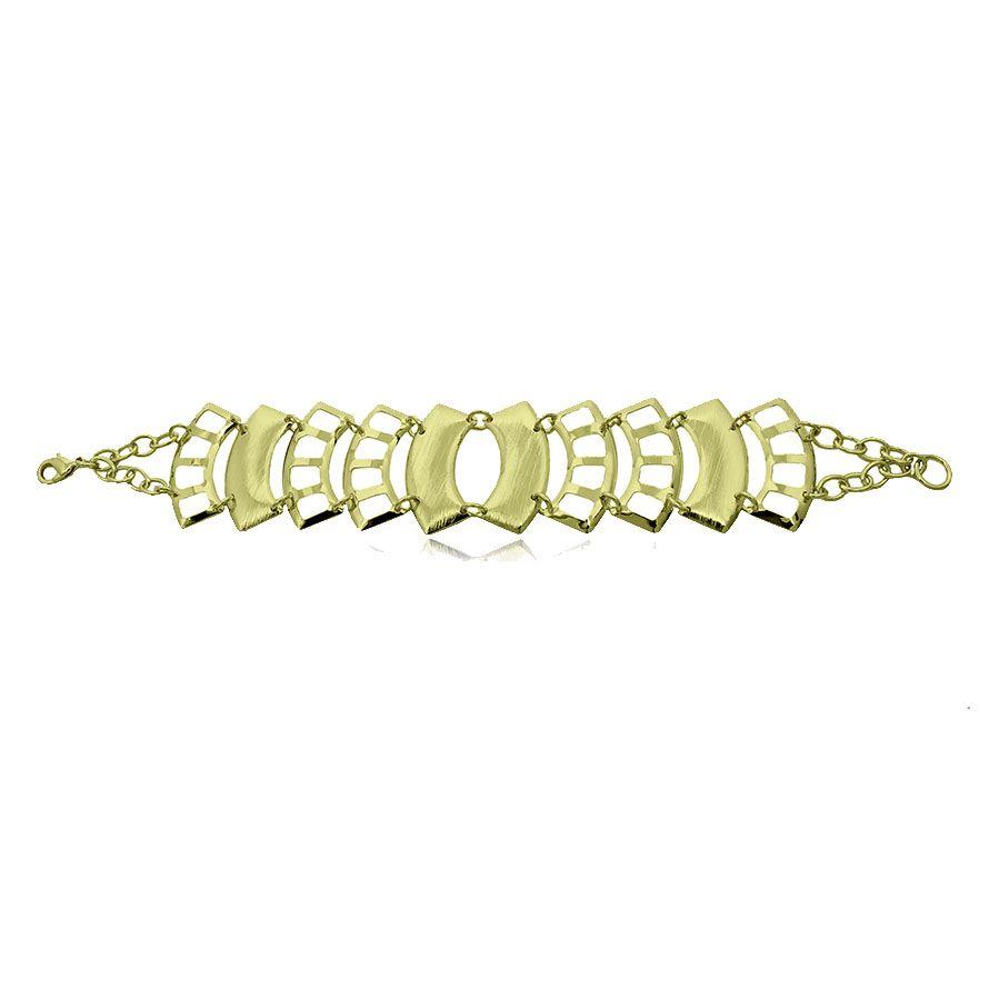 Pulseira Estilo Bracelete Geométrico Folheada A Ouro 18k