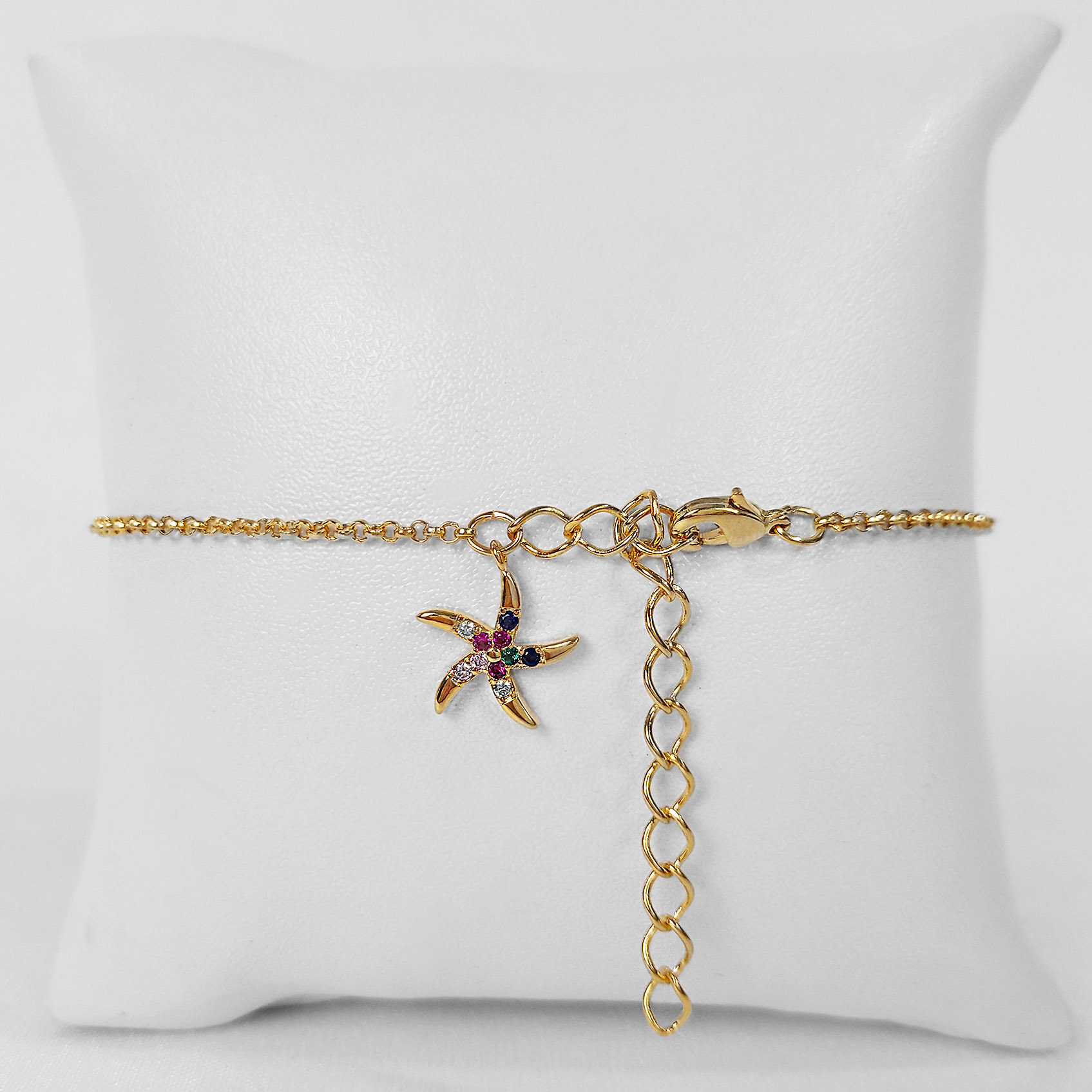 Pulseira Estrela do Mar Zircônia Colorida Folheado Ouro 18k  - Lunozê Joias